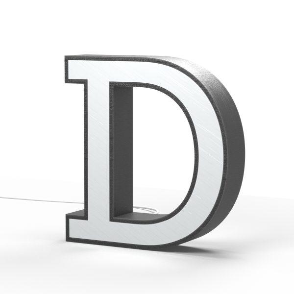 Der Buchstabe D als Leuchtbuchstabe