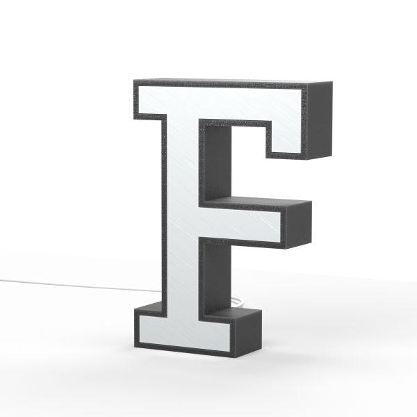 Der Buchstabe F als Leuchtbuchstabe